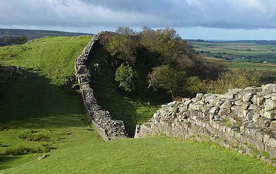 Hadrian's Wall west of Turret 45A, looking west