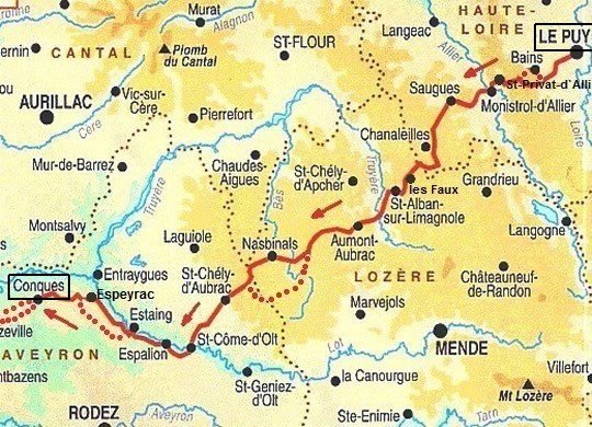Route Le-Puy_en_Velay naar Conques